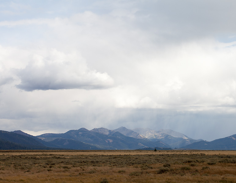 Sawtooth Storm: A view off the Sawtooth Mountains Scenic Byway in Idaho.