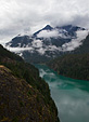 [Foggy mountain and lake] - North Cascades Scenic Byway, fog, forest, rainforest, Washington, river, lake