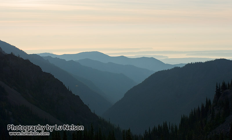 Layered mountains: The haze here was a great tool for showing depth in this range of mountains and foothills.