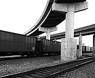 [Networks Overlaid] - black and white, train, overpass, downtown, tracks, railroad
